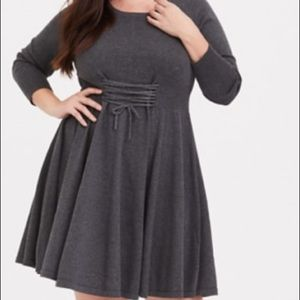 Torrid: Gray Sweater Corset Midi Dress